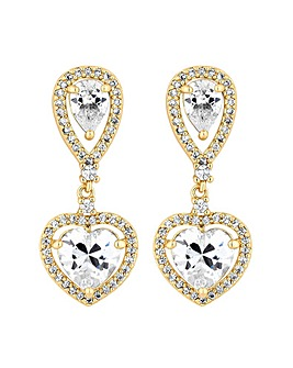 Jon Richard Heart Halo Drop Earring