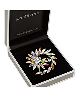 Jon Richard Crystal Swirl Brooch