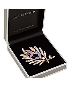 Jon Richard Crystal Leaf Brooch