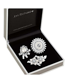 Jon Richard Crystal And Pearl Brooch Set