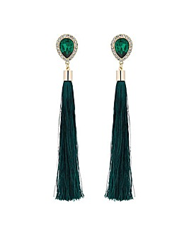 Mood Green Crystal Tassel Drop Earring