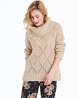 Taupe Pointelle Cowl Neck Jumper