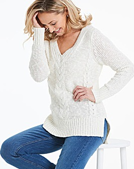 Ivory V-Neck Cable Jumper