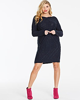 Navy Slash Neck Knitted Jumper Dress