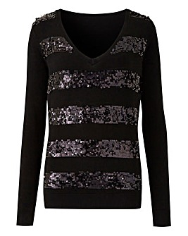 Sequin Stripe V Neck Jumper