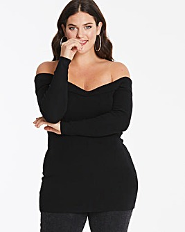 Black Sweetheart Off The Shoulder Jumper