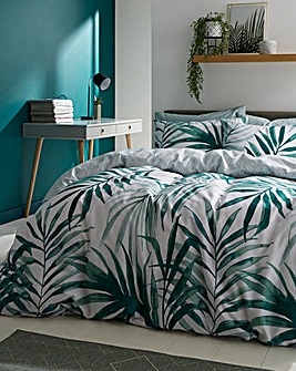Painted Palm Print Reversible Duvet Set