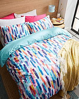 Watercolour Stripe Reversible Duvet Set
