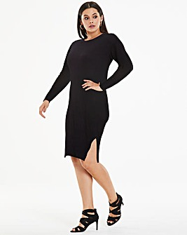 Black Ribbed Knitted Jumper Dress