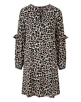 Leopard Print Frill Sleeve Dress