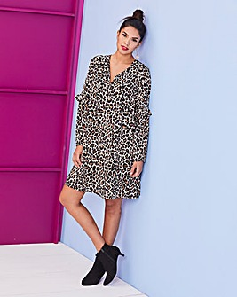 Leopard Print Frill Sleeve Dress