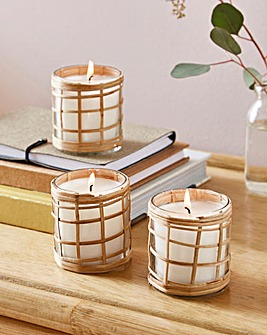 Set of 3 Rattan Candles
