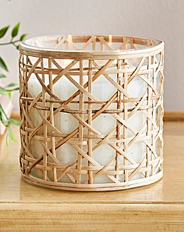 Large Rattan Candle