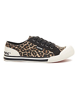 Rocket Dog Jazzin Canvas Leopard Plimsole Standard D Fit