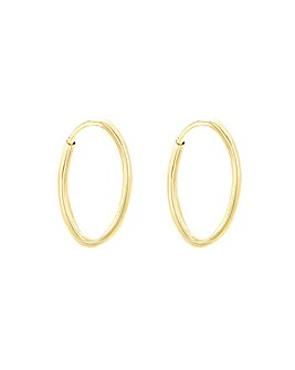 9Ct Gold 18mm Plain Hoop Earring
