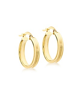 9Ct Gold Square Ribbed Earring