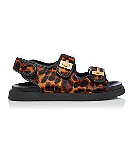 Dune Lockstockk Leopard Sandals Standard D Fit