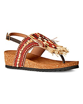 Joe Browns Izmir Leather Beaded Sandals E Fit