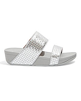 Fitflop Olive Metallic Raffia Slide Sandals D Fit