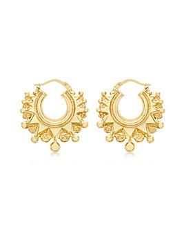 9Ct Gold Fancy Creole Earring