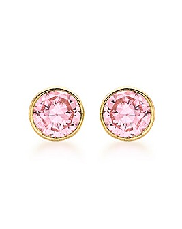 9Ct Gold Pink Round Stud Earring