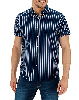 Navy Stripe Short Sleeve Poplin Shirt