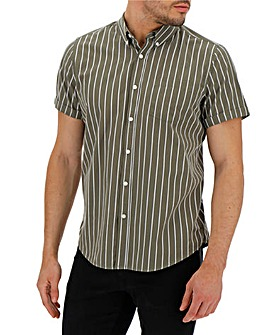 Khaki Stripe Short Sleeve Poplin Shirt