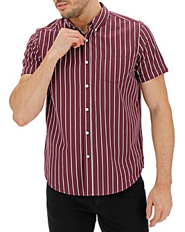 Wine Stripe Short Sleeve Poplin Shirt