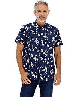 Navy/Pink Short Sleeve Ditsy Shirt Long