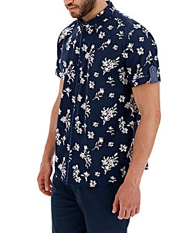 Navy/Pink Short Sleeve Ditsy Print Shirt