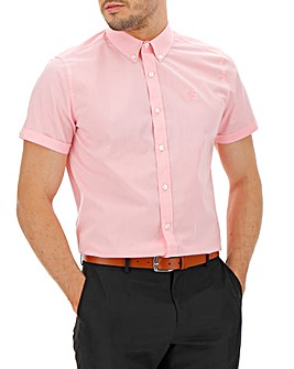 Pink Button Down Collar Embroidered Chest Poplin Shirt Long
