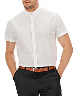 White Button Down Collar Embroidered Chest Poplin Shirt
