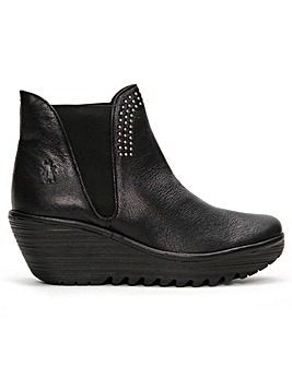 Fly London Yoss Studs Leather Wedge Ankle Boots