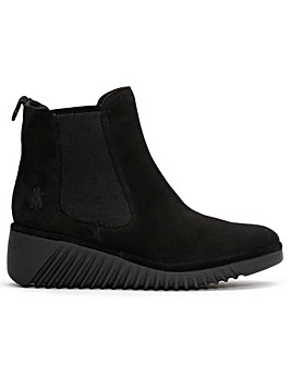 Fly London Lita Suede Low Wedge Chelsea Boots