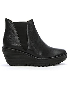 Fly London Woss Leather Wedge Ankle Boots Standard Fit