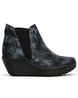 Fly London Woss Leather Reptile Ankle Boots