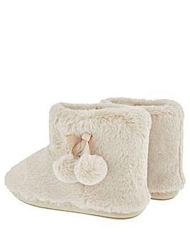 Accessorize Fluffy Pom-Pom Slipper Boots