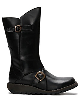 Fly London Mes II Leather Low Wedge Calf Boots