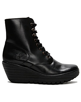Fly London Ygot Leather Wedge Ankle Boots