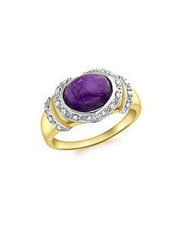 9 Carat Gold Diamondand  Amethyst Ring