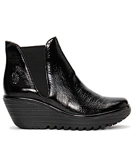 Fly London Woss Patent Leather Wedge Ankle Boots
