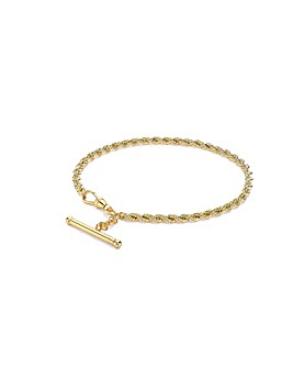 9 Carat Gold T-Bar Rope Chain Bracelet