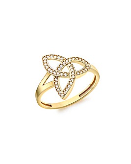 9 Carat Gold CZ Celtic Knot Ring