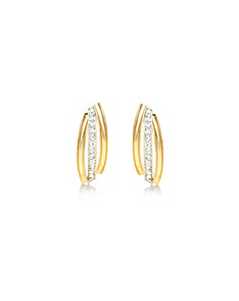 9 Carat Gold Triple-Band Stud Earrings