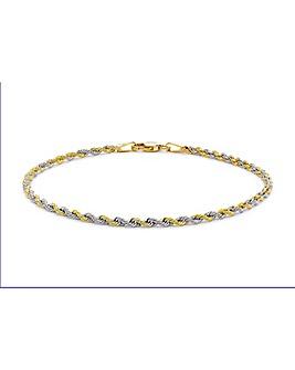 9 Carat 2-Tone Gold Rope Chain Bracelet