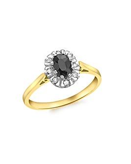 9 Carat Gold Diamond and Sapphire Ring