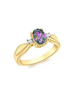 9 Carat Gold Diamond  Mystic Topaz Ring