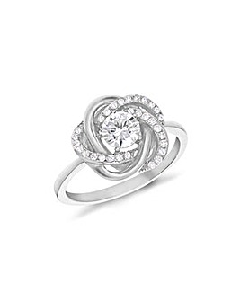 Sterling Silver CZ Knot Ring