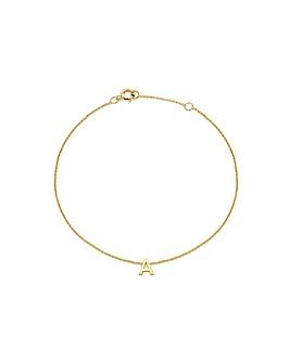 9 Carat Gold A-Z Initial Bracelet