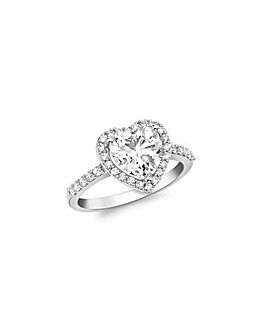 9 Carat White Gold Heart CZ Ring